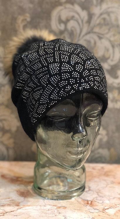 Black Hat with Diamanté Embelishment and Fur Pom Pom