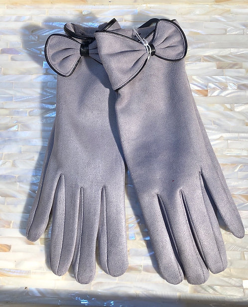 Grey Gloves with black trim and bow detail