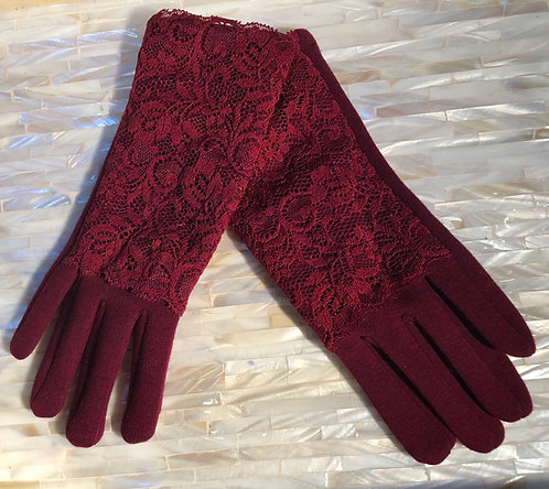 Red Fabric Gloves with Red Lace