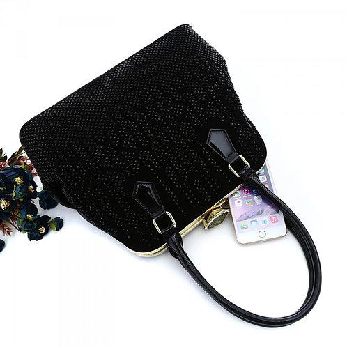 Black Suede Glitter Handbag