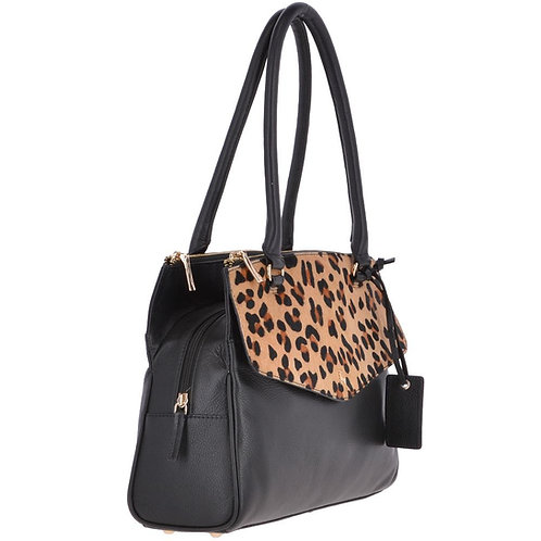 Leopard Print Leather Shoulder Tote Bag