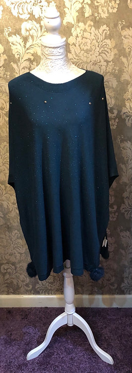 Teal Poncho with stones