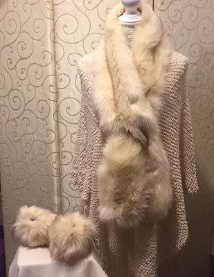 Faux fur scarf and cuffs