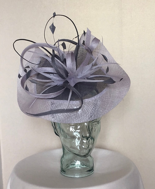 Lilac and Grey Fascinator