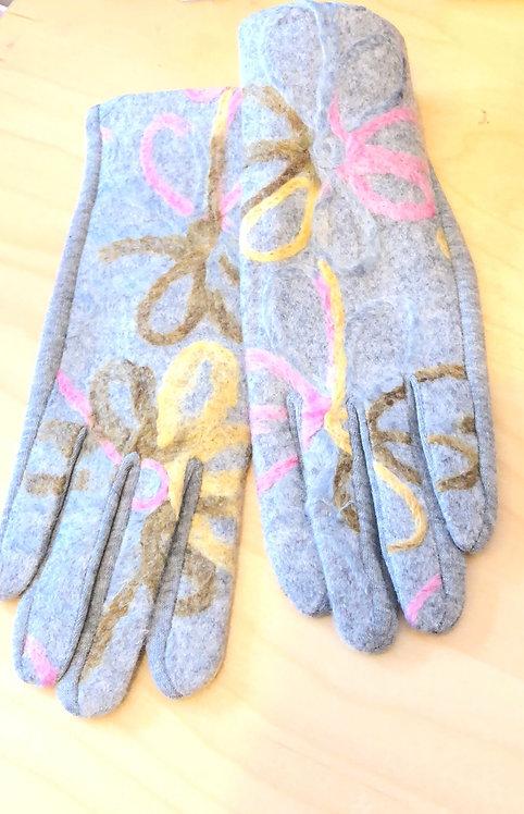 Grey fabric gloves