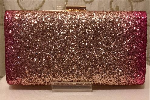 Rose Gold and Pink Glitter Clutch Bag