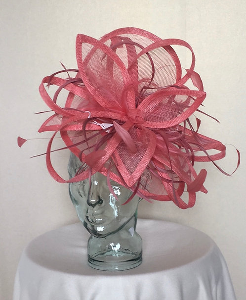 Two tone coral Fascinator