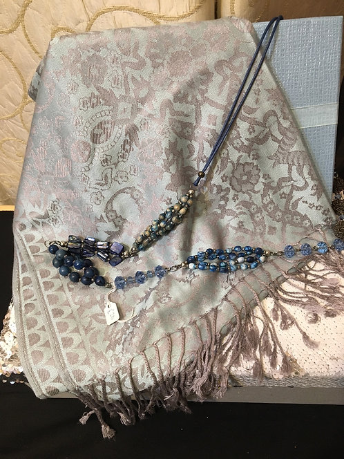 Blue gift set- scarf and necklace