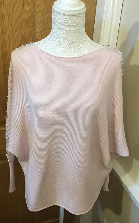 Pink jumper with Pearl and diamanté detail to the shoulder and sleeve