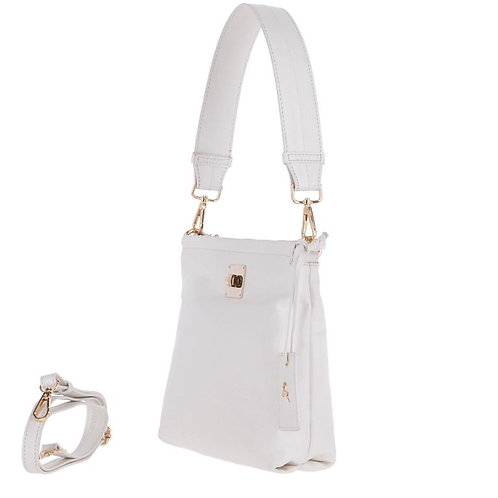 White Leather 2 in 1 Shoulder and Crossbody Bag