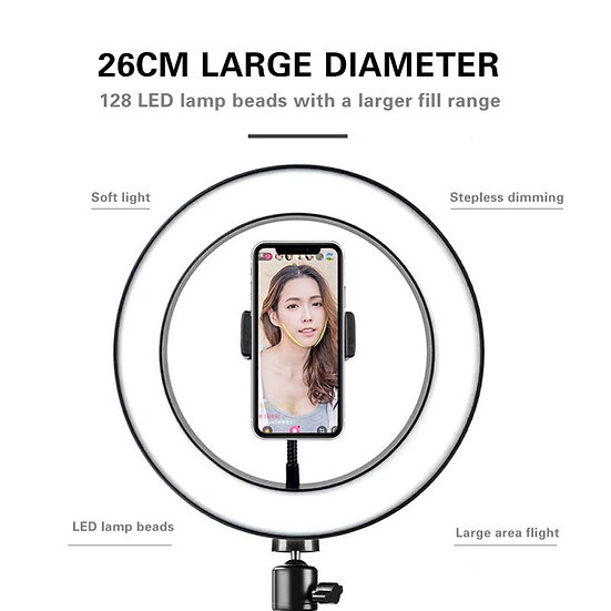 20cm / 26cm Selfie LED Ring Light Camera Phone Tripod Stand Video Dimmable Lamp