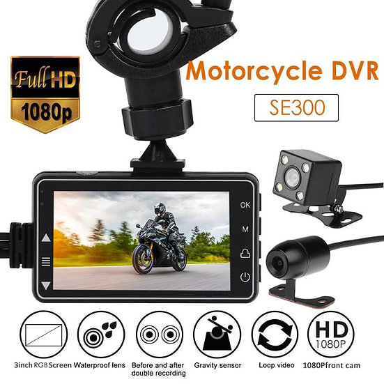 SE300 Motorcycle DVR Front+Rear View Dash Camera  Waterproof Motorcycle Camera