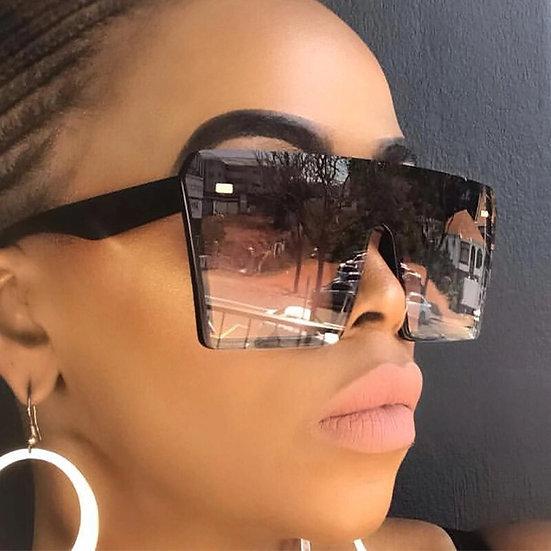 2020 Oversize Square Sunglasses Women Fashion Flat Top Glasses Men Rimless Frame