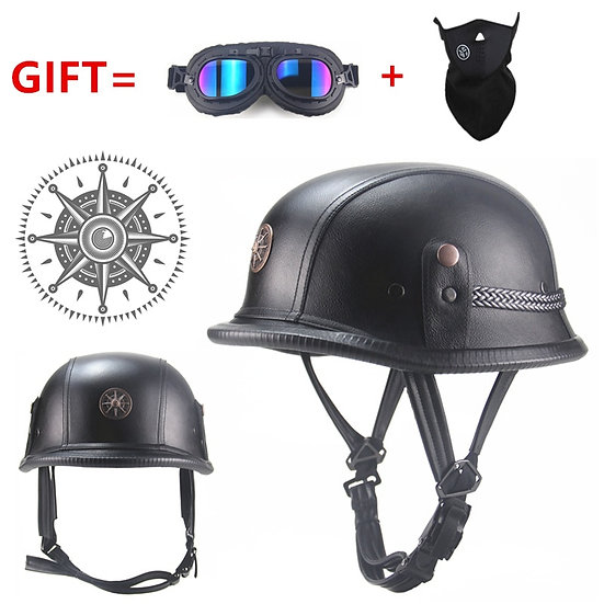 FREE SHIPPING Black Adult  Open Face Half Leather Helmet   Moto Motorcycle