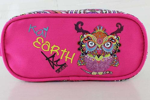 Kai Earth Doodle Owl Pencil Case