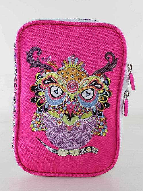 Kai Earth doodle Owl XL Pencil Case