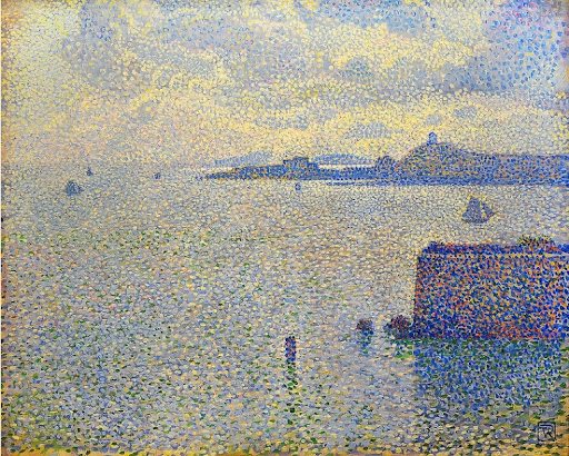 An example of stippling in painting.  Sailboats and Estuary by Théo van Rysselberghe. Oil on canvas, 1887.