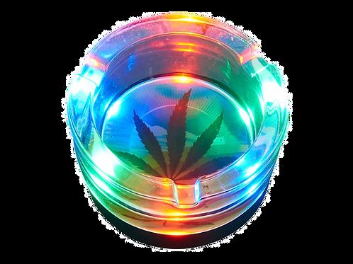 """Aschenbecher """"Hanfblatt"""" mit LED, Glas, 8,5cm"""