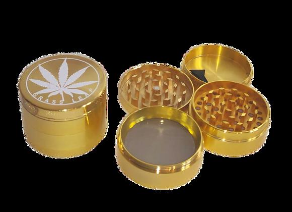 """Grinder """"grass Leaf"""" gold 3-tlg. 4,0x5,4cm"""