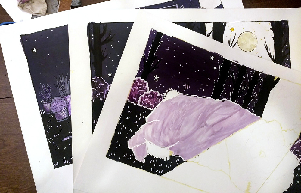 watercolor illustration, color purple sketches