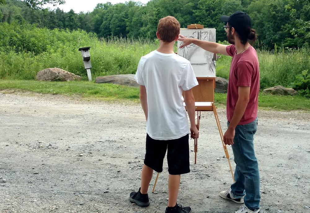 Co-teacher Slater helping a student