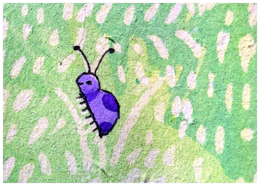 purple ladybug in grass watercolor
