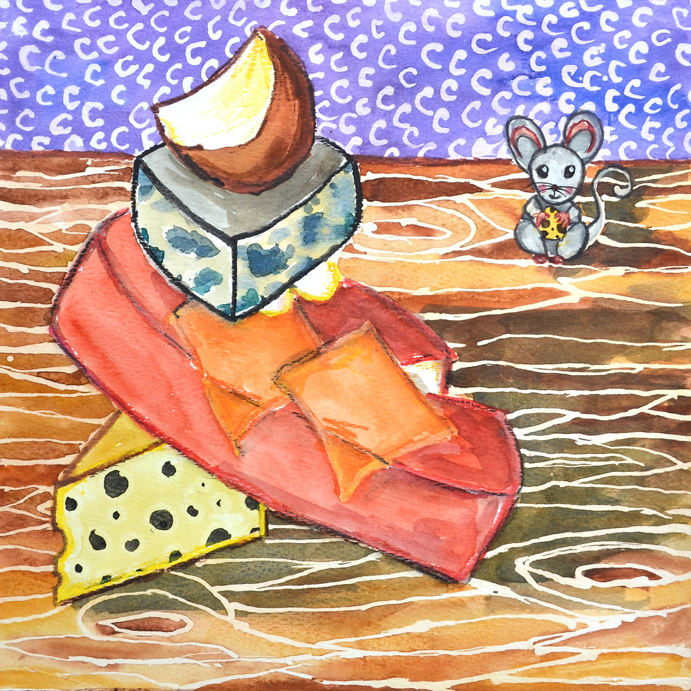 C is for Cheese, watercolor, children's illustration