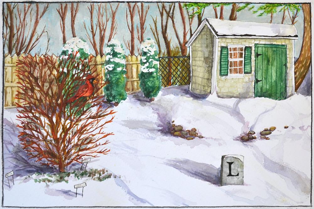 Backyard Treasures, watercolor, 2017