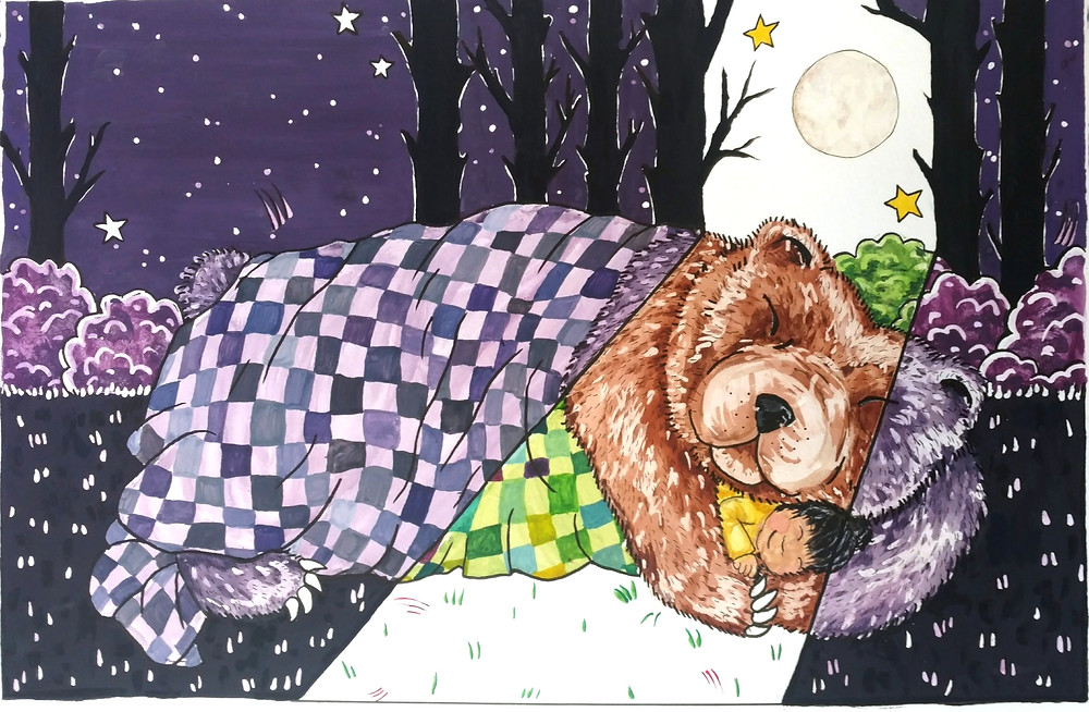 mama bear sleeping, cuddling with child watercolor illustration