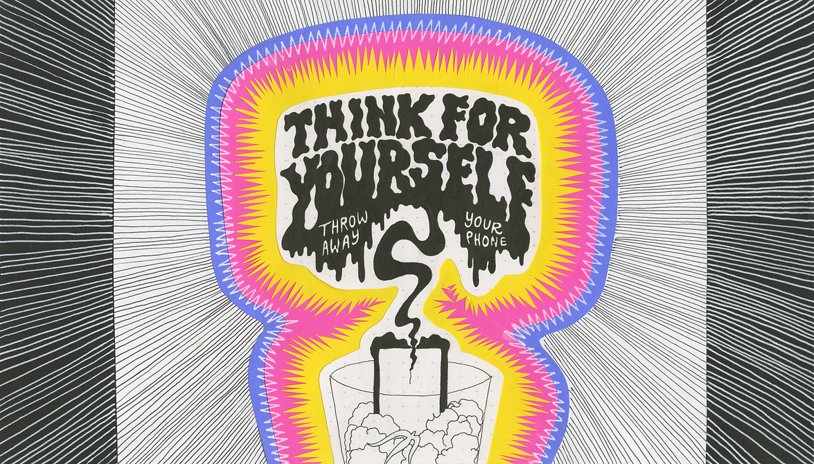 """Think For Yourself"" (2019) - ink, india ink, astrobright paper"