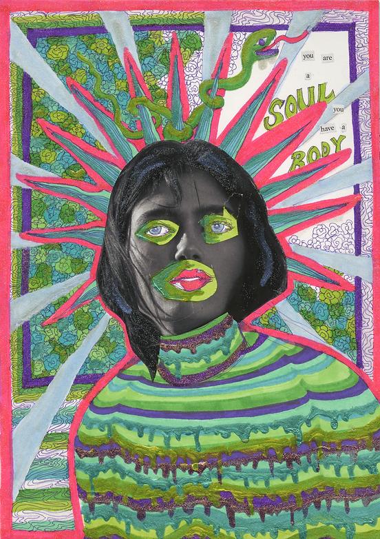 """""""Spiritual Being"""" (2019) - ink, marker, collage, nail polish"""