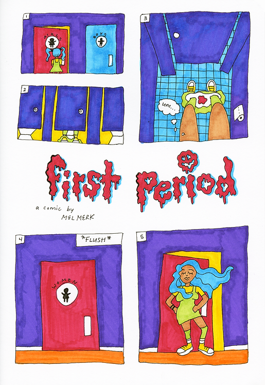 """First Period"" (2018) - ink, marker"