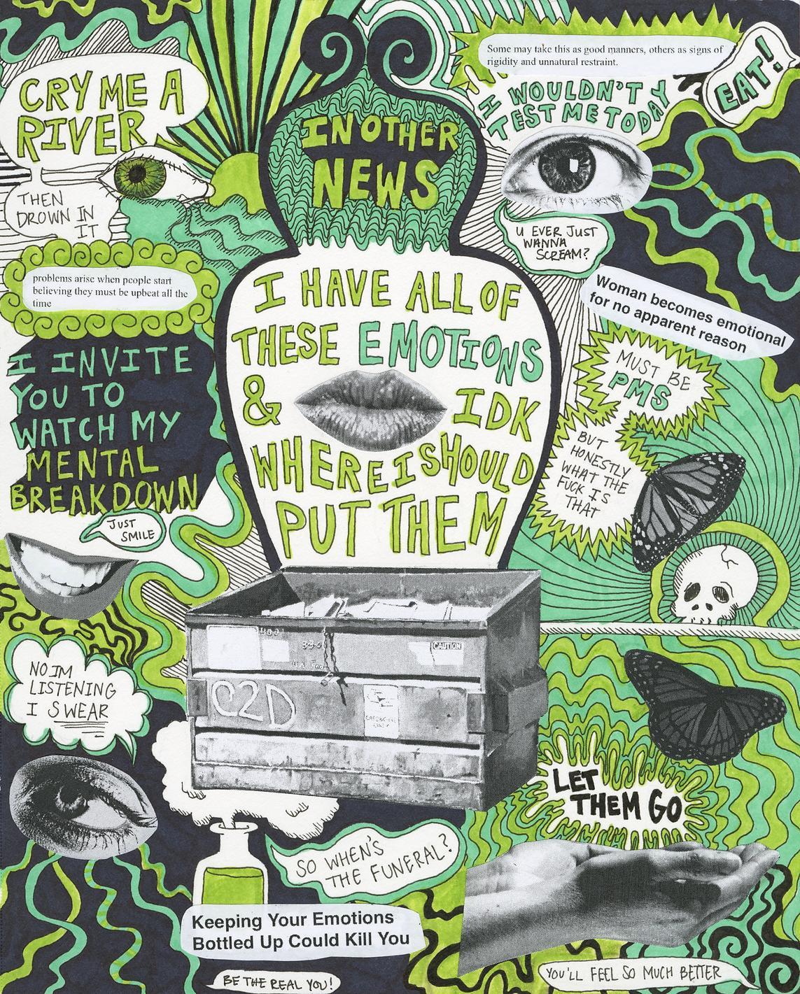 """""""Emotional Dumpster"""" (2018) - ink, marker, collage"""