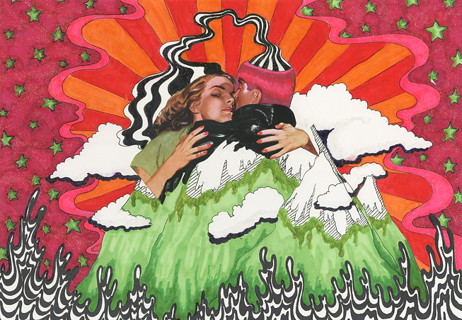 """Side Eye"" (2019) - marker, ink, collage, nail polish"