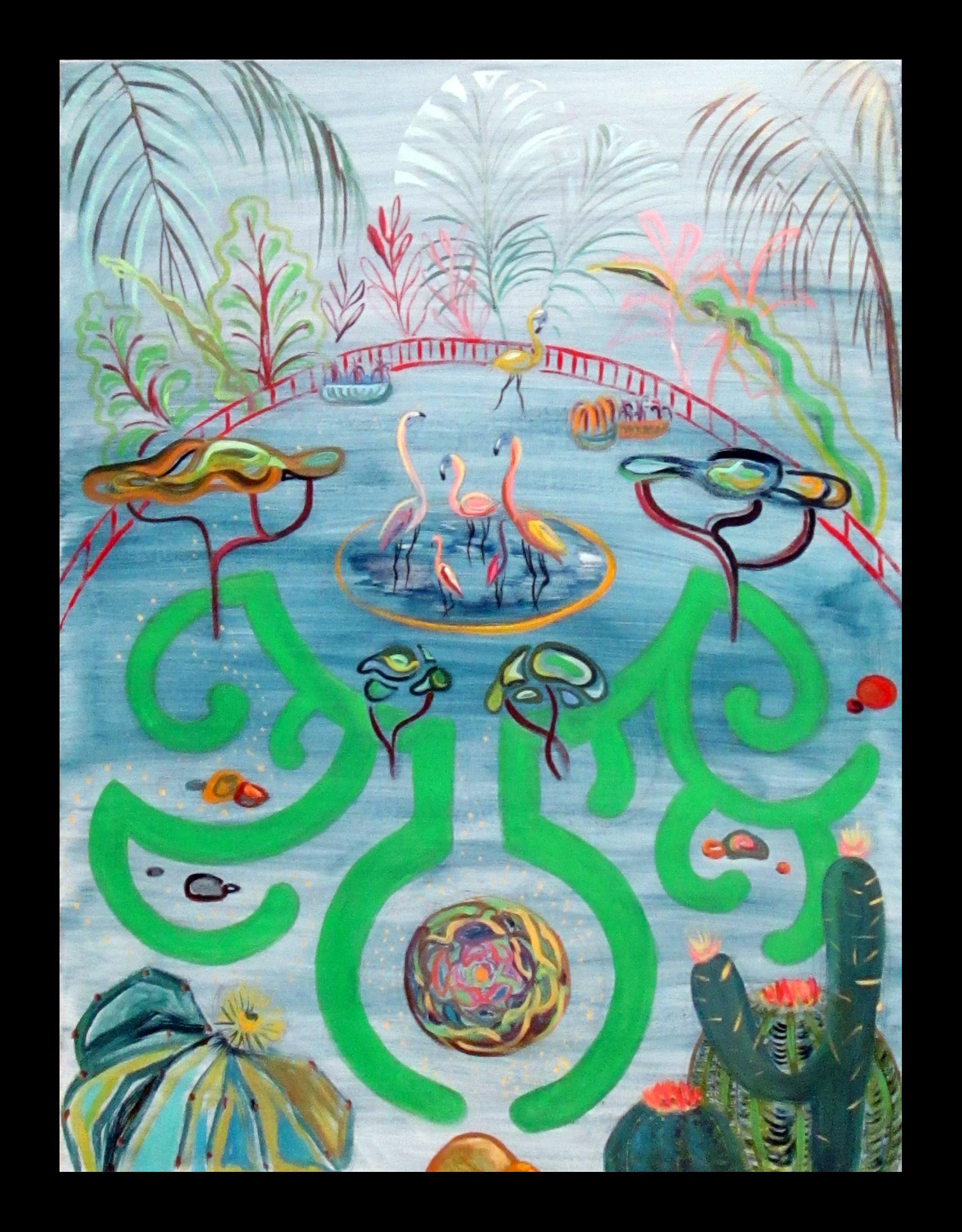"""Flamingo's garden"", 130x90cm"