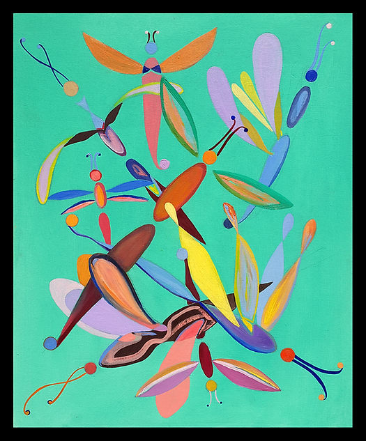 dagon flies green art deco oil