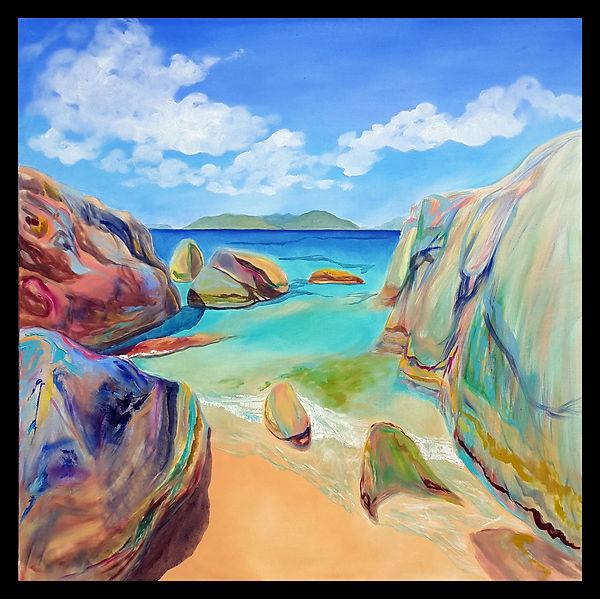 rocks beach sunny blue sky smmer coast sea ocean