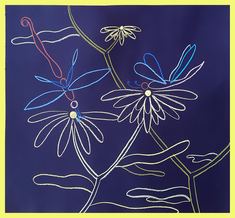 """Night Neon Dragonflies"", 70x65cm"