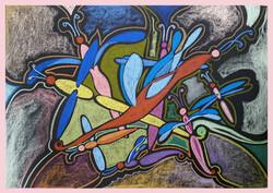 """""""Neon Dragonflies"""", 70x50cm"""
