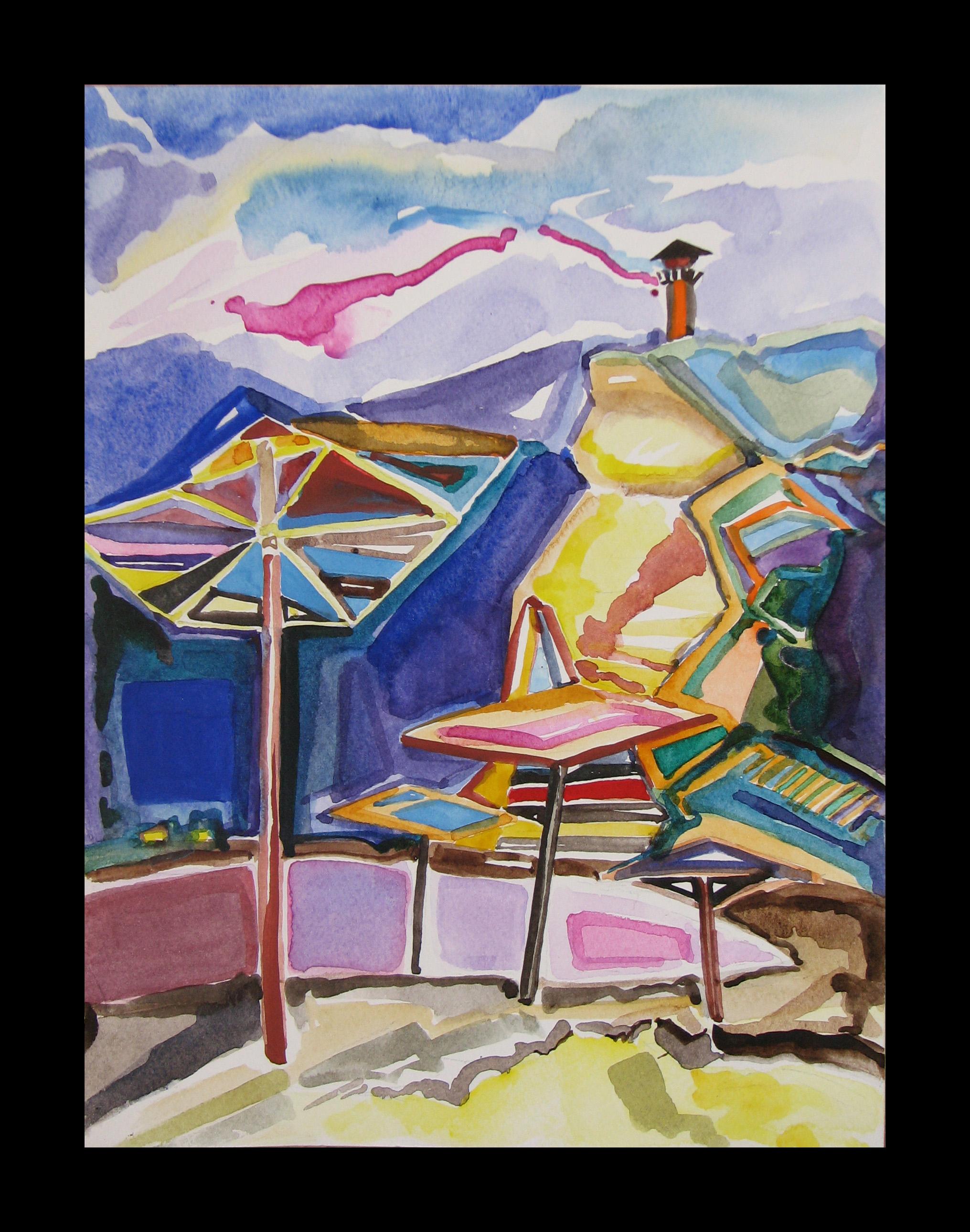 """Shabla Lagoon -umbrellas"" 29cmX22cm"