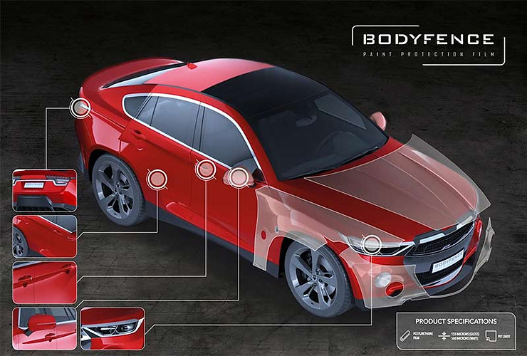 Image showing Bodyfence paint protection film used by Autowrap Centre Liverpool in a post about vehicle paint protection