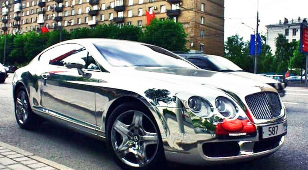 Image showing a chrome wrapped car used in a blog post about chrome car wraps by Auto Wrap Centre Liverpool