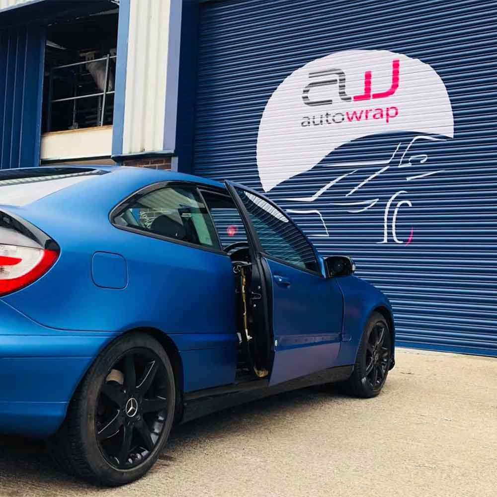 Image showing a matte wrapped Mercedes Benz outside Auto Wrap Centre Liverpool and featured in a blog post about how to wrap a car and custom vehicle graphics.