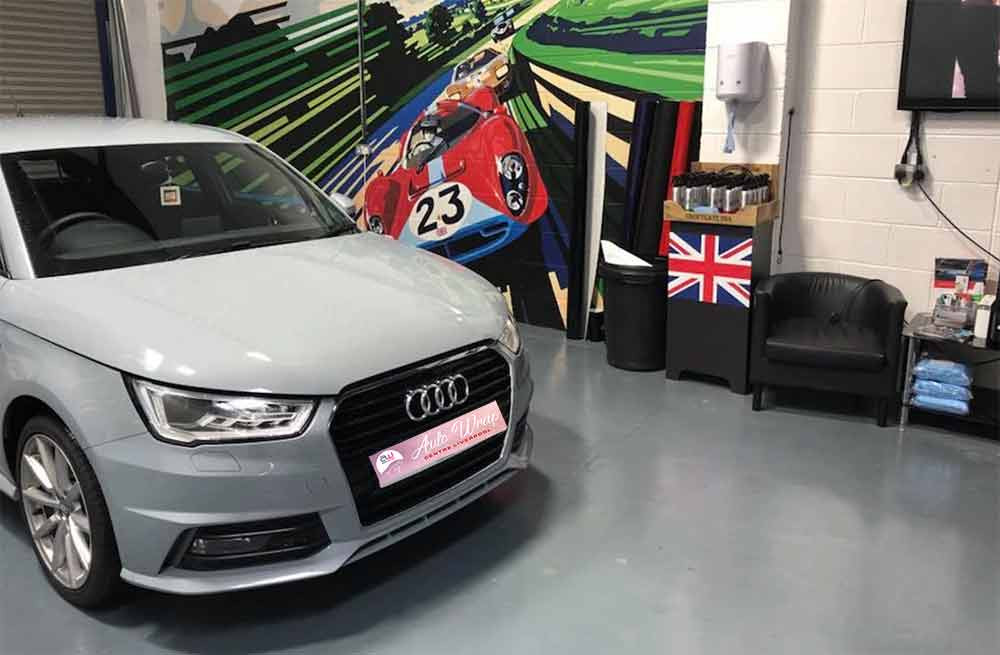 Image showing an Audi car in the car wrapping room at Autowrap Centre Liverpool and used in a blog post guide in car wrapping and vehicle graphics