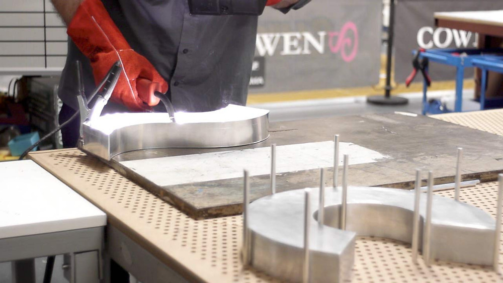 Image showing the manufacturing of sign letters all in-house at EP Cowens Birkenhead
