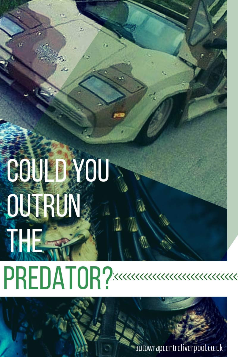 Image of a car with a full camo wrap and the predator from the movie in a blog post about camo vehicle wraps by AutoWrap Centre Liverpool