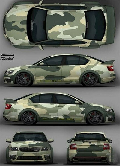 Image showing a mockup of a car camo wrap vinyl before wrapping used in a blog post by Autoharp Centre Liverpool