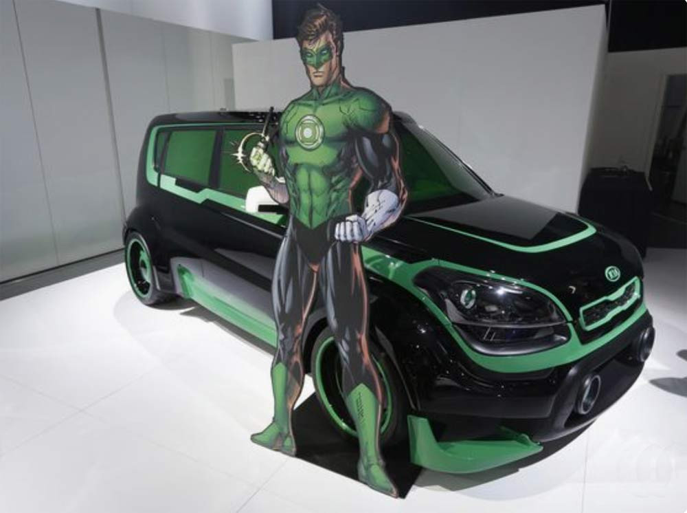 Image showing the Kia Soul vinyl wrapped as The Green Lantern used in a blog post about superhero car vinyl wraps by Autowrap Centre Liverpool