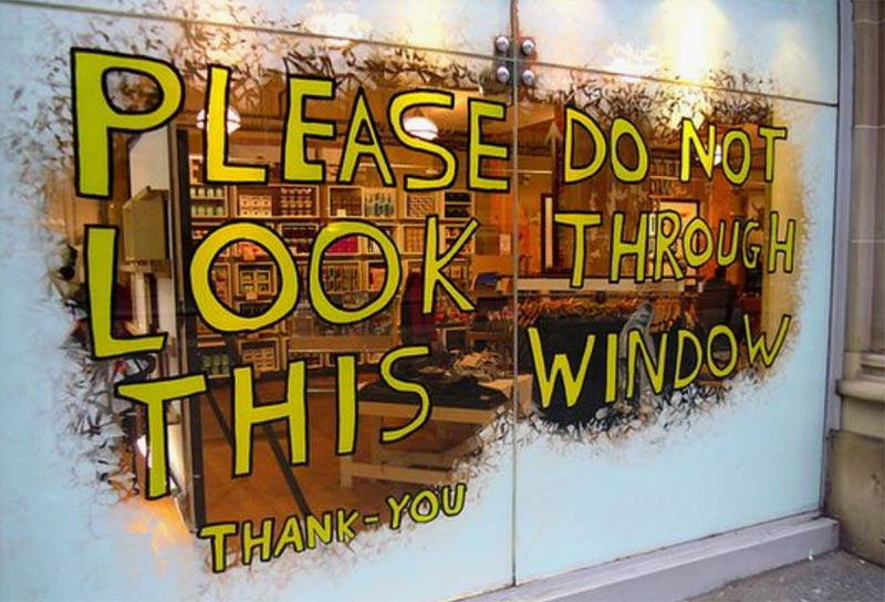 Image of a retail window graphic used in a blog post about retail window decoration by EP Cowens
