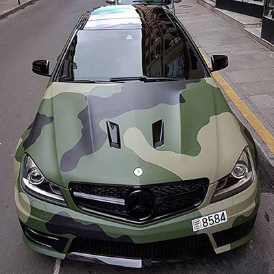 Image of a camo wrapped Mercedes Benz used in a blog post about camo wraps from Autoharp Centre Liverpool